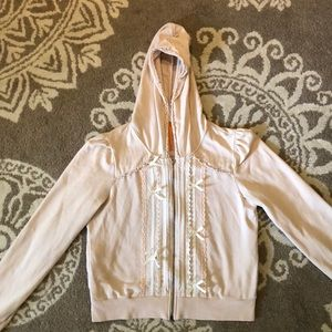 Anthropologie Pink Ribbon and Lace Hoodie